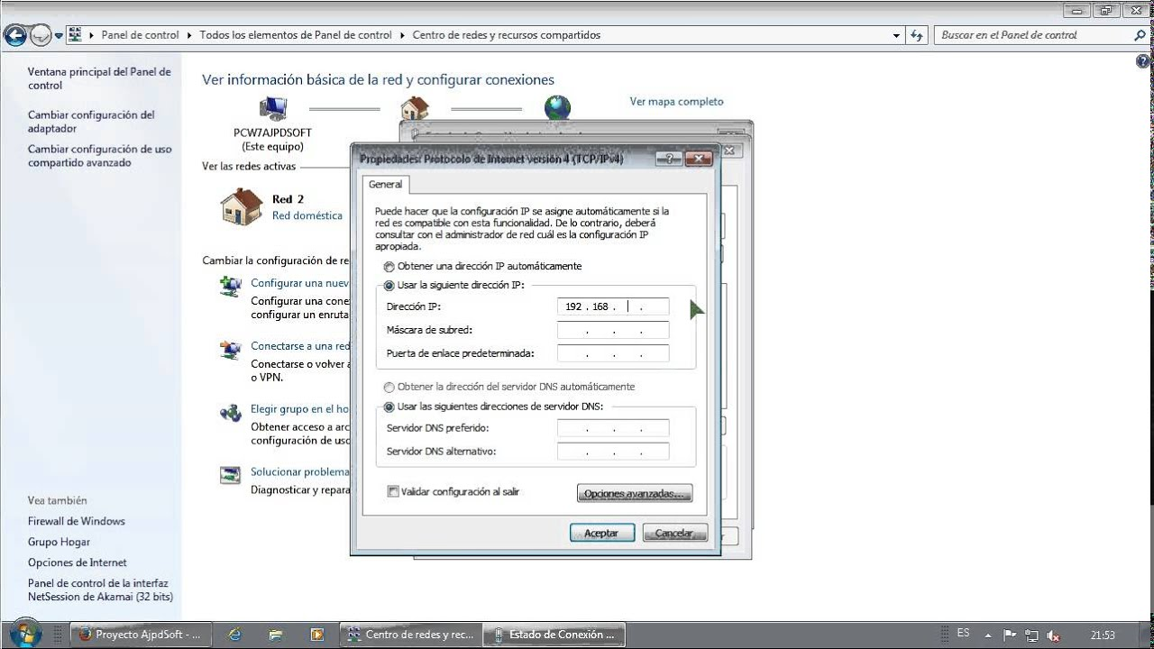 configurar red y conexi n a internet en windows 7 en pc de