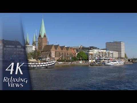 4K UHD Relaxing Video: Bremen, Germany - Weser, Stadtwerder, Inner City, River Boats