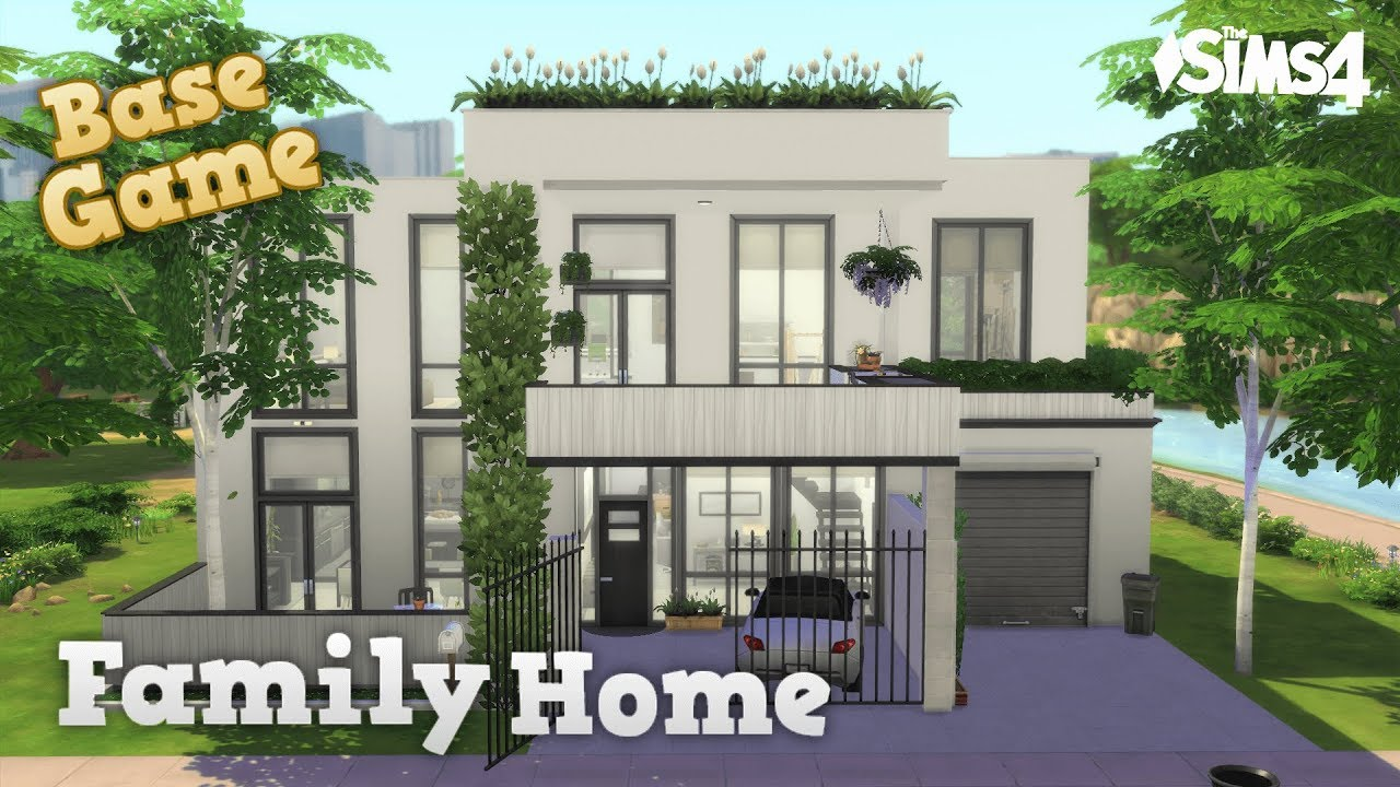 BASE GAME ONLY FAMILY HOME  No CC  Stop Motion Modern House Build  The  Sims 20