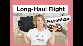 I am sharing long haul flight essentials and travel accessories like compression leggings, a neck pillow - any item you need in the airplane that would fit in your ...