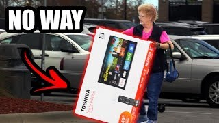 Grandma CAUGHT Stealing Flatscreen T.V. (Bait T.V.)