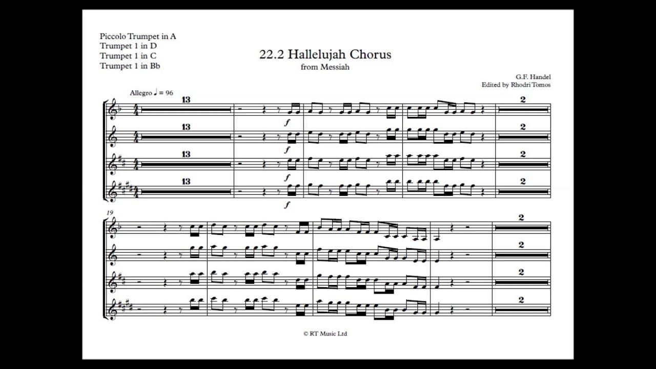 trumpet play along handel messiah 2 22 hallelujah chorus sheet music youtube