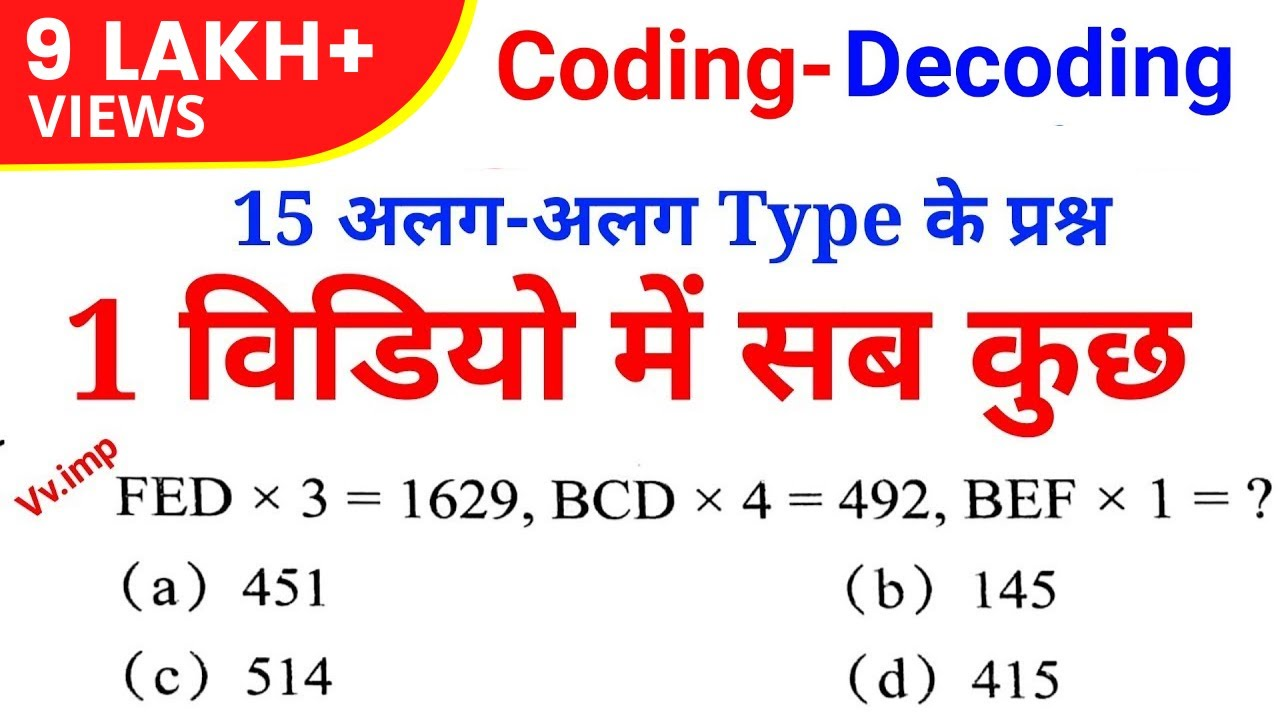 Download Reasoning short trick - 15 type Coding-Decoding questions |RPF, UP POLICE, SSC GD