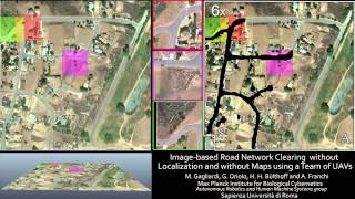 Image-based Road Network Clearing without Localization and without Maps using a Team of UAVs