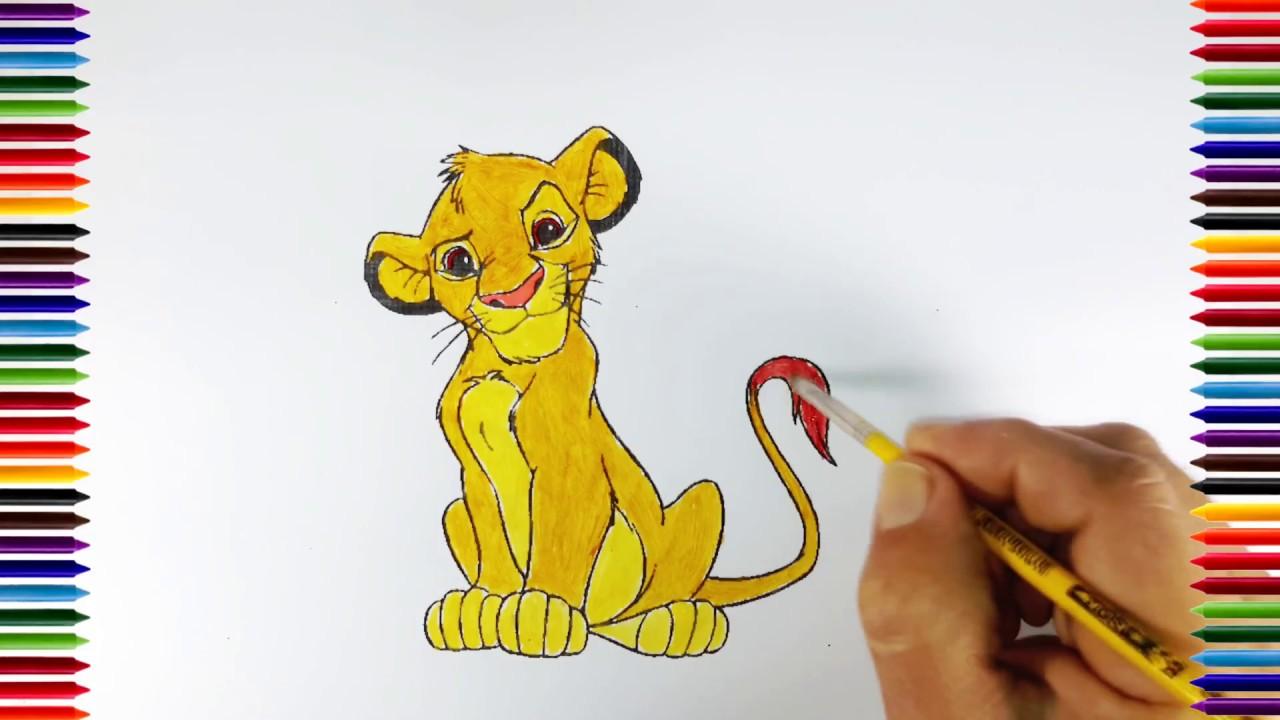 Aprendiendo a dibujar y colorear Simba el Rey León | Animaciones y ...