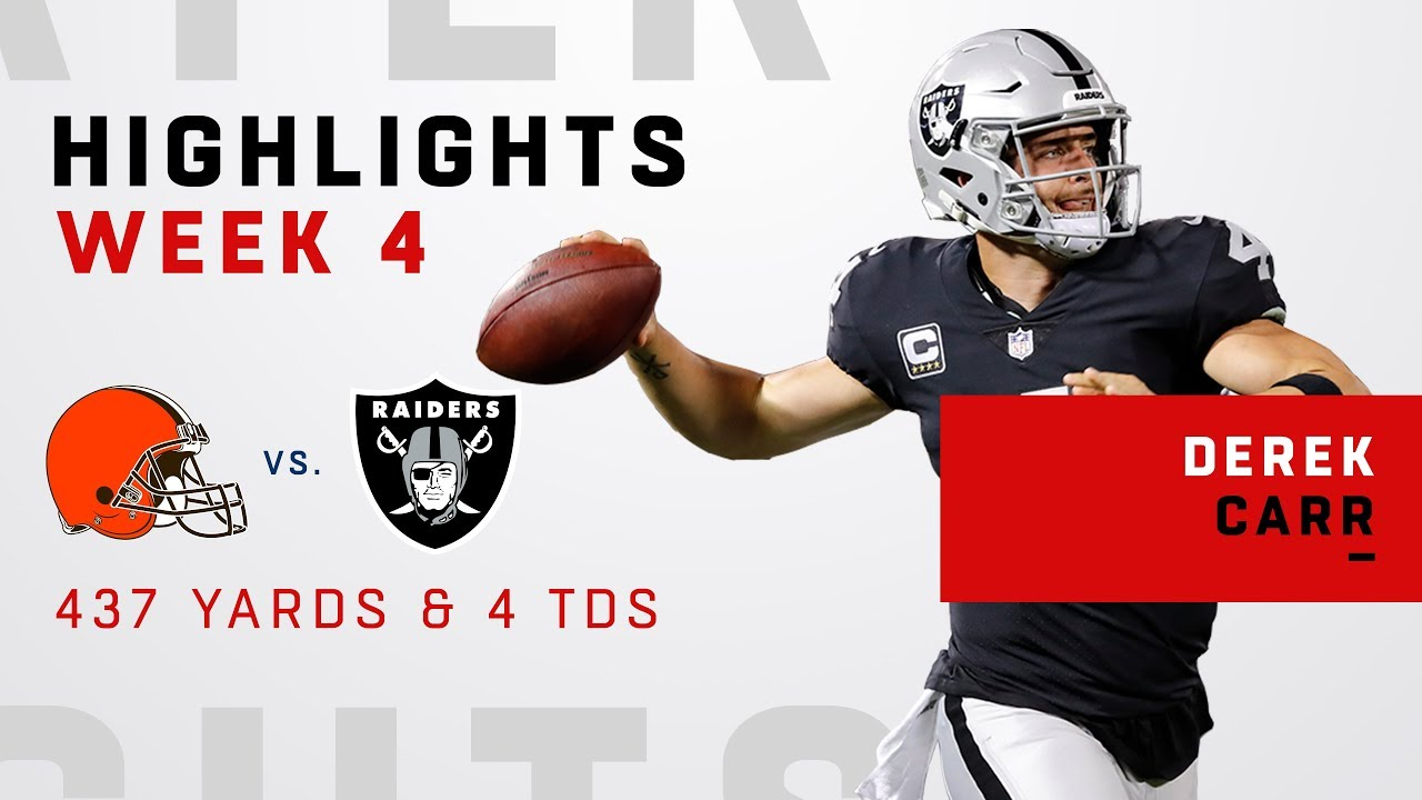 Derek Carr Goes Off for 437 Yards   4 TDs vs. Cleveland - YouTube c44e57d55