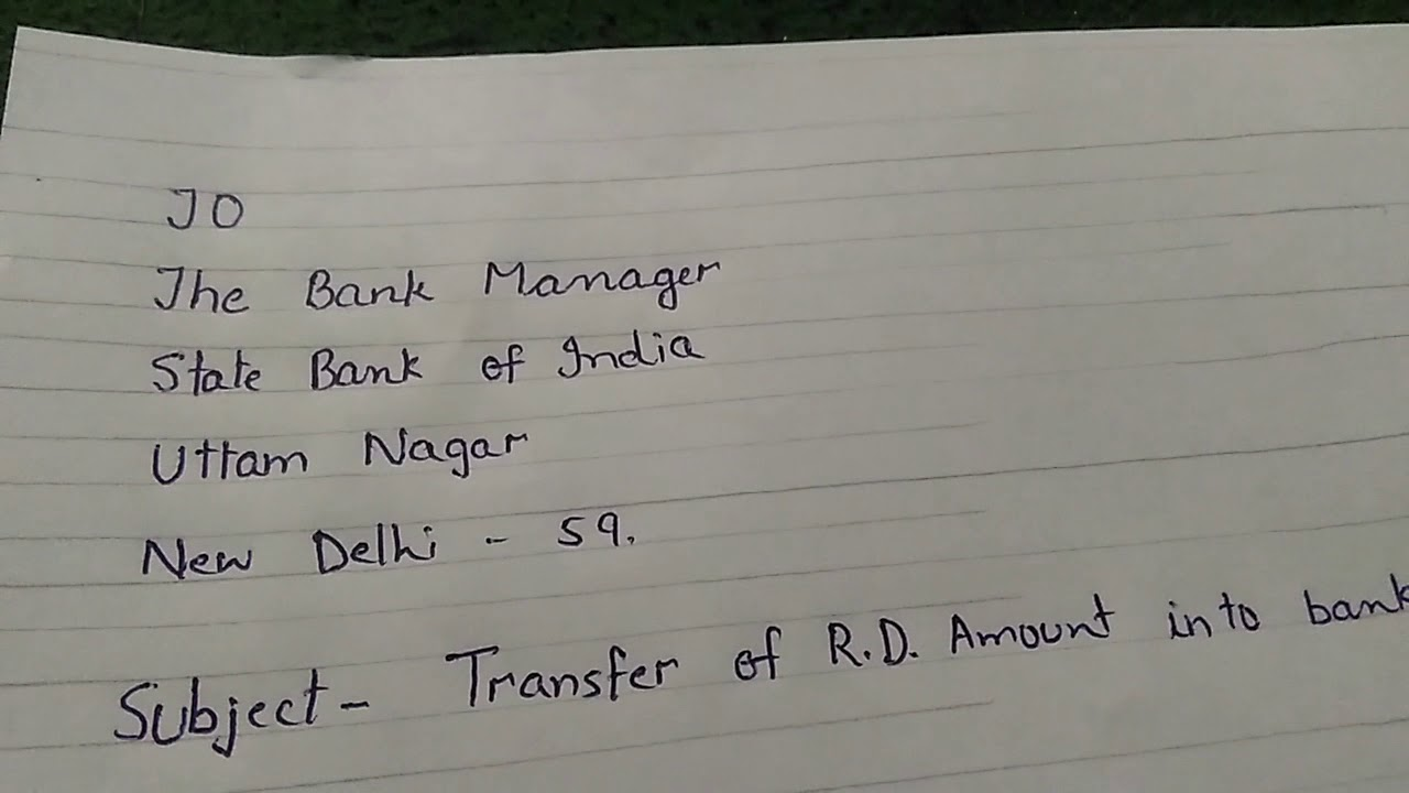 account transfer application letter
