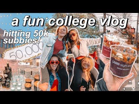 College Vlog: Hitting 50k Subscribers!!