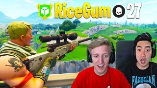 Ricegum AMAZED as Tfue Plays on His Fortnite Account for $50,000 Donation!