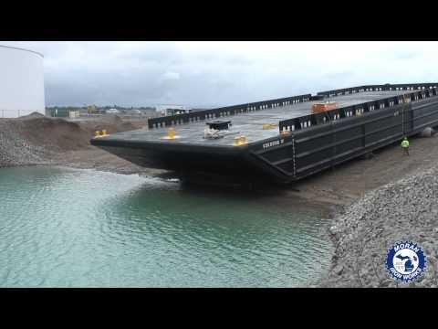 Moran Iron Works - Durocher Marine Barge Launch TIMELAPSE