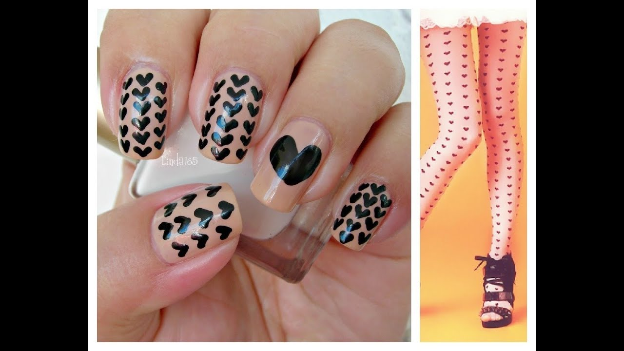 Nail Art  Black Hearts  Decoracion de uas  Corazones Negros  YouTube