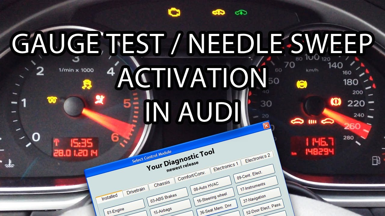 How to activate Audi needle sweep / gauge test (VCDS VAG-COM VAS) A1 A3 A4 A5 A6 A7 A8 Q7 2008 ...