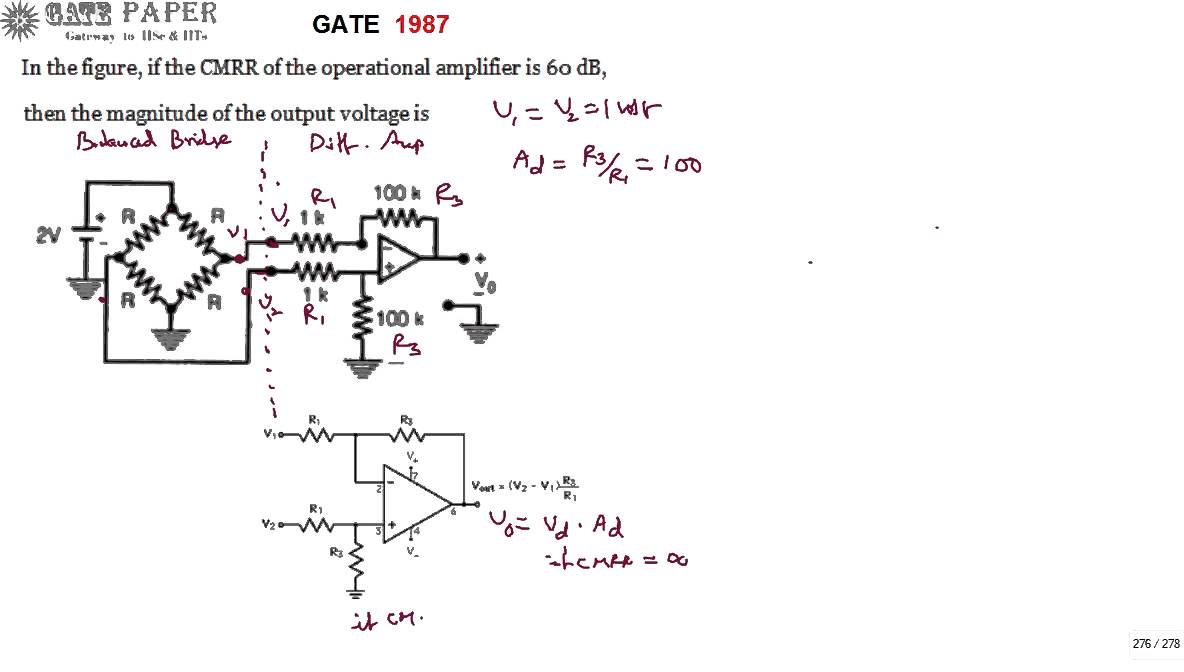 Gate 1987 Ece Output Voltage Of Operational Amplifier Circuit With Darlington Transistor Related Keywords Suggestions Finite Cmrr 60 Db