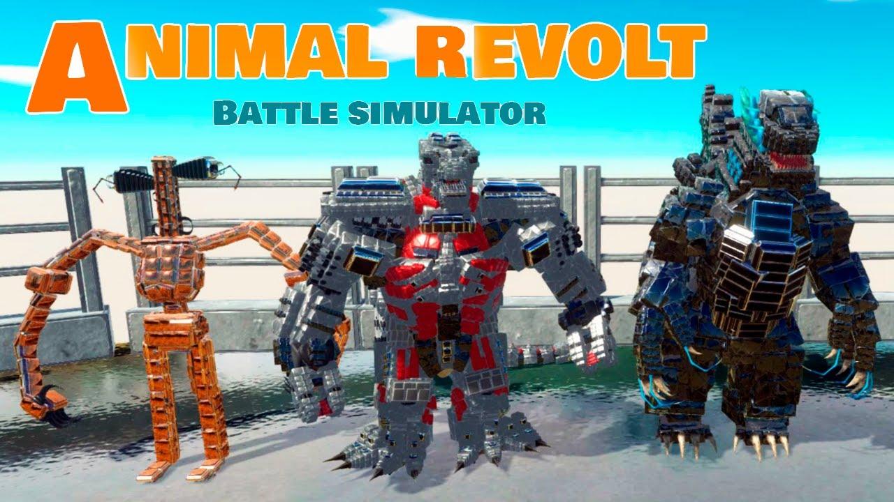 БИТВА МЕХАНИЧЕСКИХ МОНСТРОВ! СИРЕНОГОЛОВЫЙ и ГОДЗИЛЛА Против XT300 в Animal Revolt Battle Simulator