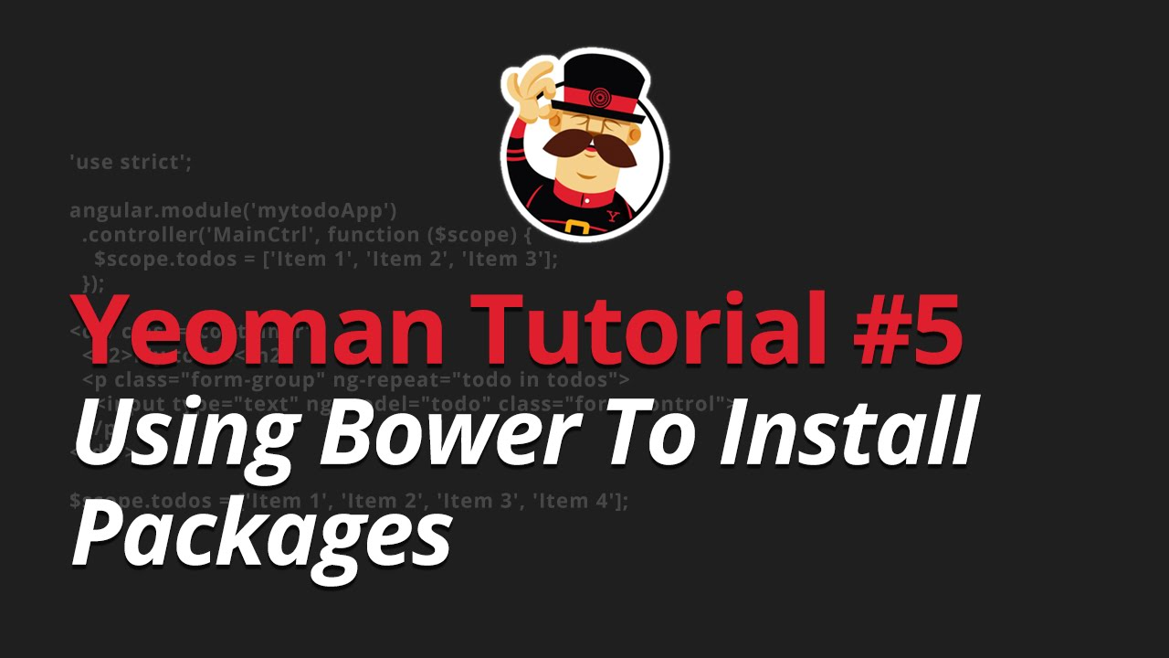 Yeoman Tutorial - #5 - Using Bower To Install Packages