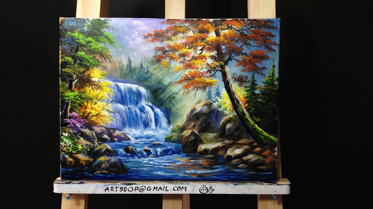 Fall Sunflowers Wallpaper Waterfall Acrylic Painting Lesson 1 Youtube