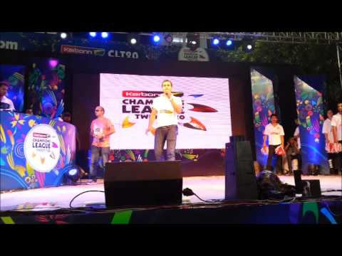 Emcee/Anchor Ujjwal Hosting Champions League T20 2013 between RR VS MI with Mika Singh Travel Video