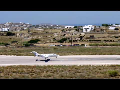 Mykonos landing private aircraft