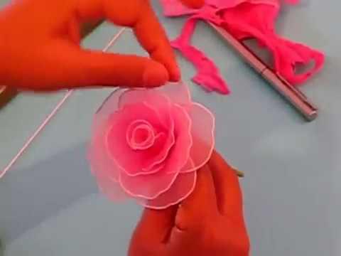 Bí quyết làm hoa hồng bằng vải voan cực đẹp