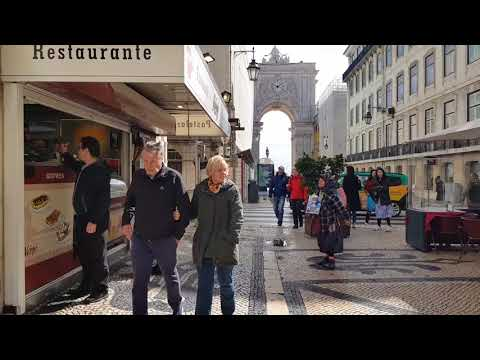 Lisbon, Portugal : Walkthrough the Rua Augusta, to the Arch (Arco)