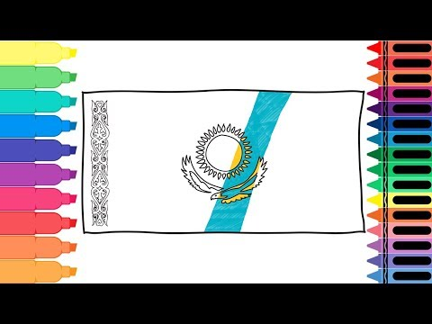 How to Draw Kazakhstan Flag - Drawing the Kazakh Flag - Art