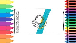 How to Draw Kazakhstan Flag - Drawing the Kazakh Flag - Art colors for kids | Tanimated Toys