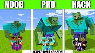 Minecraft Battle : Zombie Mutant FAMILY CRAFTING CHALLENGE - NOOB vs PRO vs HACKER vs GOD Animation