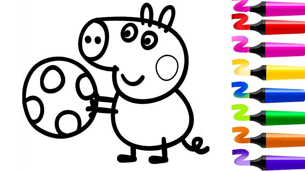 Dessin facile colorier peppa pig coloriage facile georges et son ballon coloriage peppa pig - Coloriages peppa pig ...