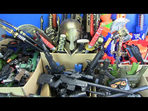 Box Full Of Guns Toys! Military,Ninja,Police Weapons Toys & Equipment - Part 1