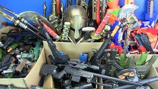 Box Full of Guns Toys! Military,Ninja,Police Weapons Toys & Equipment - Part 1