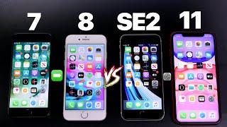 iPhone SE 2 Vs iPhone 7 Vs iPhone 8 Vs iPhone 11 - Speed & Battery Test