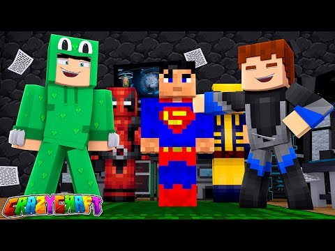 THE BATCAVE  IS OUR NEW SUPERHERO SUIT LAB - Minecraft CRAZY CRAFT
