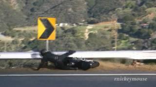 Motorcycle Crash - Shifting Error, Rider Hits Guardrail