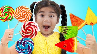 Fruit Colors Lollipop Song | Suri & Annie Learns Colors & Fruits Names Nursery Rhymes & Kids Songs