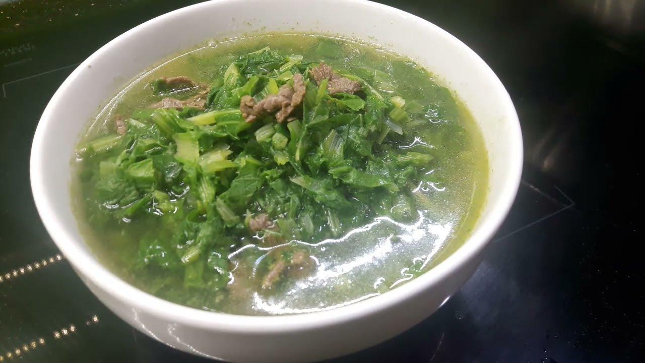 Cách nấu canh rau cải thịt bò thơm ngon