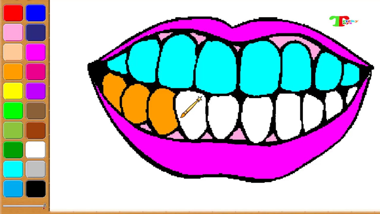 Drawing Toothpaste Toothbrush for Kids | 👄Teeth Coloring | Coloring ...