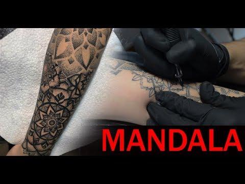 Mandala sleeve. Beginning - Tattoo time lapse