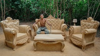 Extremely Elegant Design - Build Millionaire Outdoor Garden Living Room from Mud and Sand