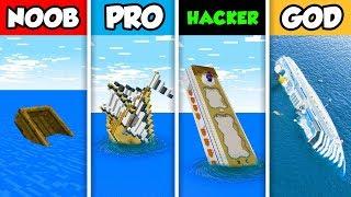 NOOB vs PRO vs HACKER vs GOD : SINKING CRUISE SHIP in Minecraft! (Animation)