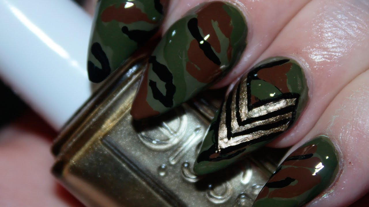 Army Print Camouflage Nails - YouTube