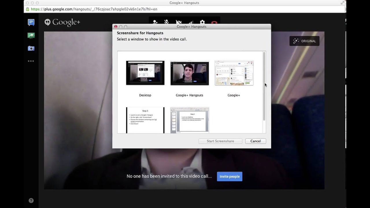 how to share a full screen powerpoint in google hangout youtube
