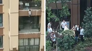 Toddler survives fall from six storey building