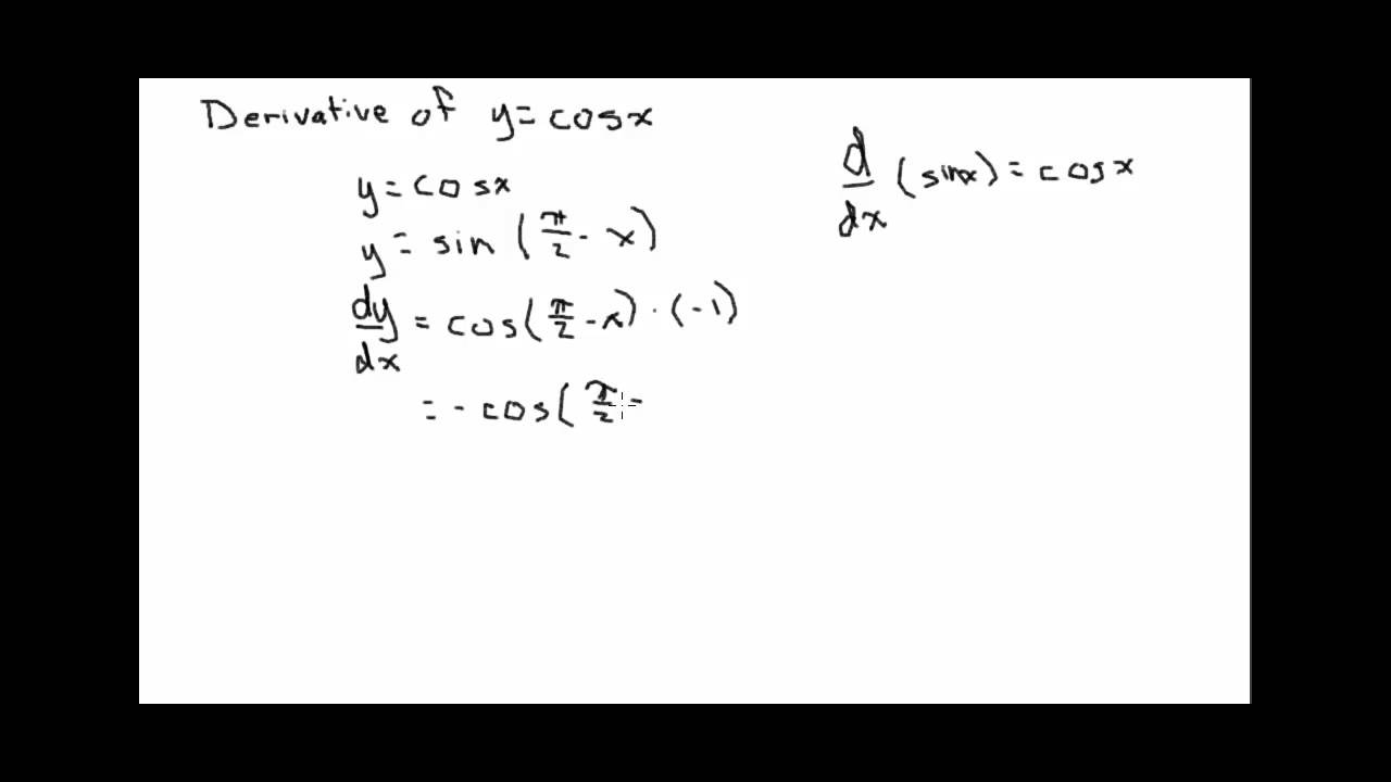 Derivative of y=cosx - YouTube