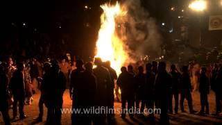 Miss Nagaland lights the bon fire, Hornbill Festival