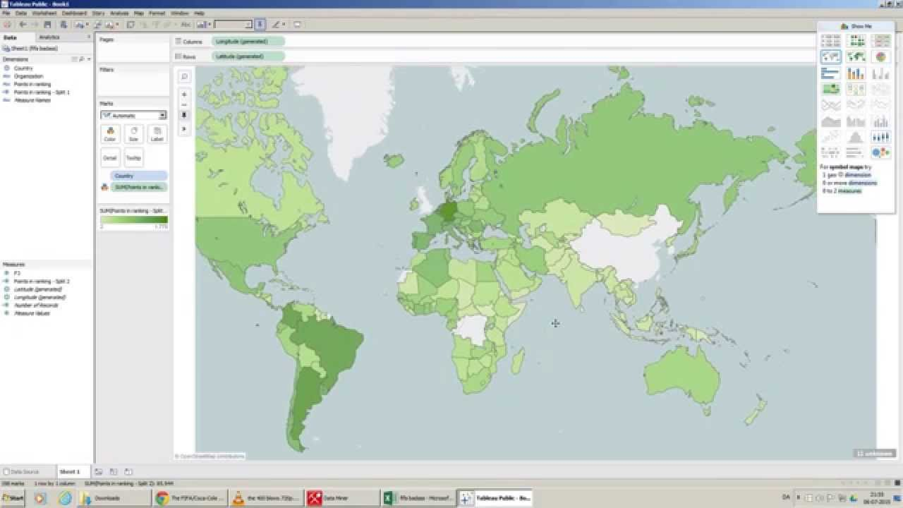 how to make a world map out of excel country data tableau