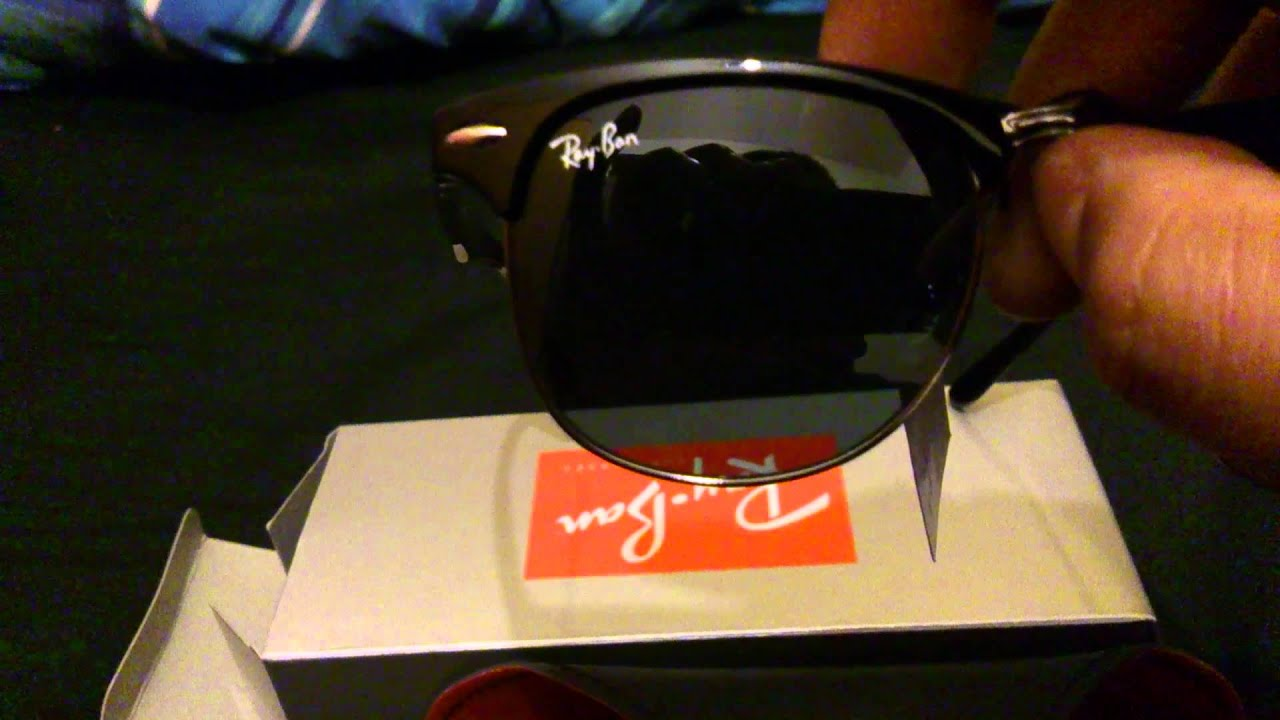 fake ray bans with logo  How to Spot Fake Rayban Clubmasters Sunglasses - YouTube