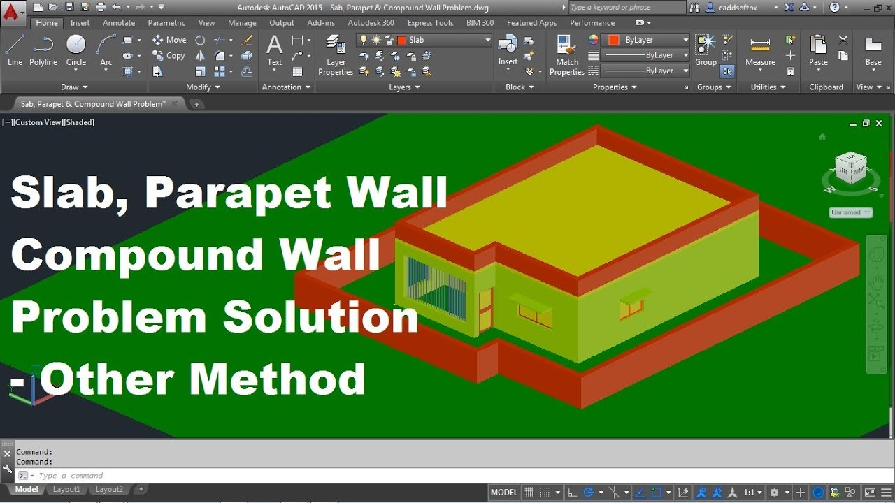 AutoCAD 3D Slab, Parapet Wall & Compound Wall Problem Solution | Other  Method