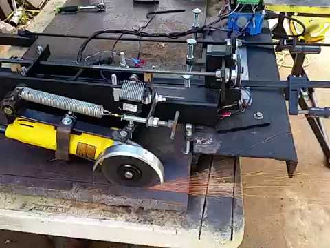Arduino powered DIY radial arm sliding saw for thick metal plate pt. 1