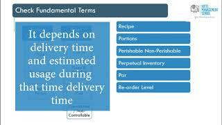 Inventory Control In Food And Beverage Management