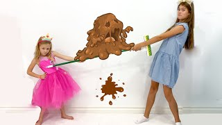 Nastya và stacy tranh cãi về đồ chơi và học cách sử dụng trang điểm